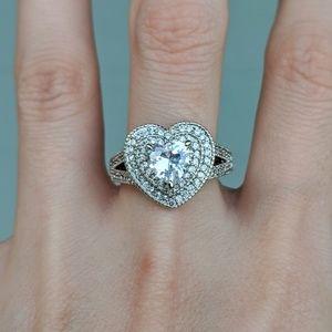 🆕S925-White Sapphire Heart Ring Sz 8